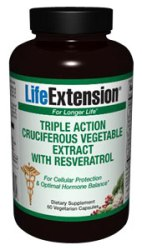 Triple Action Cruciferous Vegetable Extract with Resveratrol (60 vcaps). Maintaining healthy hormone levels and promoting longevity..