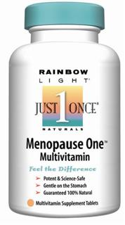 Menopause One Multivitamin/Mineral Iron-free targeted nutrition with herbal relief .