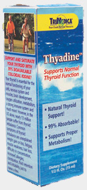 TriMedica's Thyadine™ provides you with: Colloidal Iodine — from sea kelp. 99% absorbable for maximum benefits! Fucus Vesiculosis — (homeopathic) for obesity, poor digestion, constipation and dietary iodine deficiency. Spongia Tosta — (homeopathic) improves thyroid function and relieves fatigue. Thyroid — (homeopathic) improves thyroid function, relieves cold hands and feet, improves weight loss and fatigue..