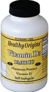 Health Origins Vitamin D3 10,000 is key nutrient manufactured in a highly absorbable liquid softgel form..