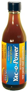 Yacon root concentrate from 100% Peruvian yacon; very low glycemic index with added cinnamon oil.