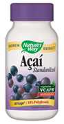 Nature's Way Acai Standardized vcaps offer a convenient way to utilize the benefits of Acai Berry in capsule form..