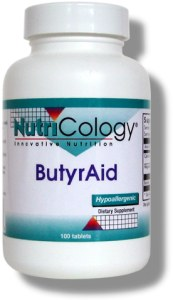 A source of butyric acid from the salts of calcium and magnesium, in an enterically-coated tablet designed to release in the small intestine..