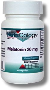 Melatonin, in capsule form and having a 20 mg per capsule strength. Melatonin has many nutritional benefits including profound antioxidant properties via hydroxy radical scavenging. However, its main function in the body is to support the aspects of brain chemistry involved in sleep..