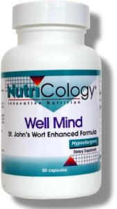 Well Mind was formulated by Daniel Beilin, OMD. It provides St. John's wort extract standardized to 0.3% hypericin, extracts of kava, valerian, passionflower, schisandra and large yellow lady.