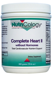 Complete Heart II is a powdered, comprehensive cardiovascular support formula.* Complete Heart II supports general nutrition, ATP (adenosine triphosphate) production, catabolism and homocysteine metabolism, antioxidant function, maintenance of serum viscosity and cardiovascular health..