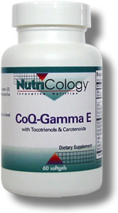 A unique softgel formulation containing high levels of CoQ10, carotenoids, gamma-tocopherol, and DeltaGold tocotrienols. Developed by Martin Pall, Ph.D. and NutriCology. CoQ-Gamma E is part of an antioxidant supplementation protocol..