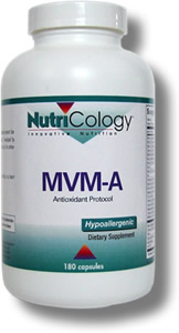 Multiple vitamin and mineral formula with additional nutrients featuring acetyl-L-carnitine for antioxidant support.* Developed by Martin Pall, Ph.D. and NutriCology®. MVM-A is part of an antioxidant supplementation protocol..