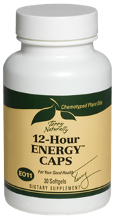 The chemotyped plant oils in 12-Hour Energy Caps provide safe, non-stimulating, sustained energy. Stay focused with all day energy naturally..