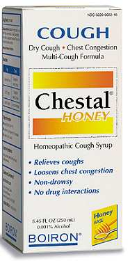 Boiron Chestal Honey Syrup helps to relieve cough and sooth a sore throat. It is pasteurized and is safe for ages over two..