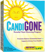 Renew Life, the experts in improving digestion and nutrition for decades. As a result CandiGone is the #1 choice for reducing candida over growth and improving digestion. Formulated to be taken in harmony with your normal daily activity utilizing organic herbs traditionally used to support the balance of intestinal flora..