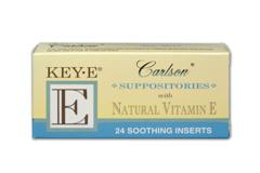Key- E  Suppositories are natural soothing inserts prepared with a base derived from coconut and palm oils..