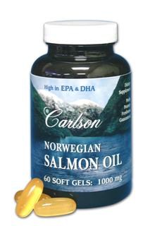 Each Carlson Norwegian Salmon oil, easy to swallow soft gel contains 1 gram(1000 mg) of fish oil extracted from salmon and other fish found in the deep, unpolluted waters near Norway..