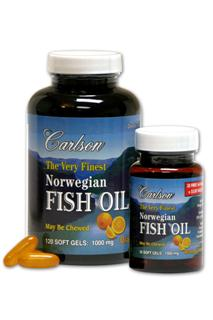 For those individuals who do not include fish in their diet, Carlson offers Omega-3's in easy-to-swallow orange flavored soft gelatin capsules..