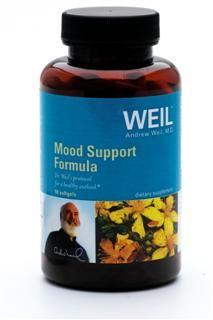 Mood Support Formula features St. John's Wort, Folic acid, and Omega-3 fatty acids..