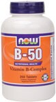B-50 Tablets are a blend of key B vitamins combined with other nutritional factors for enhanced synergism. This formula provides recommended potencies of the most important B vitamins and is designed to supply your body's required daily intake in one complete supplement. Read FAQ's.
