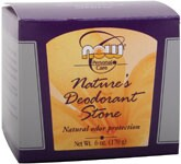 Natural Odor Protection By leaving a tiny residue of odor-controlling mineral salts, NOW® Nature's Deodorant Stone is completely free of any harsh chemicals, oils, perfumes, alcohol, preservatives or aluminum chlorohydrate..