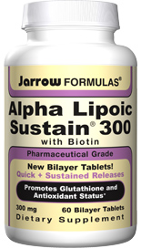 Alpha Lipoic Sustain® 300 is in a bilayer Quick Release/Sustained Release format to maximize blood levels and to minimize gastric irritation and blood sugar fluctuations..