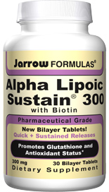 Alpha Lipoic Sustain 300 is in a bilayer Quick Release/Sustained Release format to maximize blood levels and to minimize gastric irritation and blood sugar fluctuations..