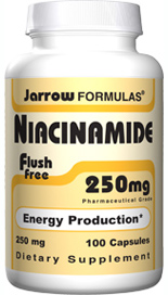 Niacinamide is the form of niacin that circulates in the bloodstream. Niacinamide and niacin are the two forms of vitamin B3. Niacinamide does not cause flushing or skin irritation..