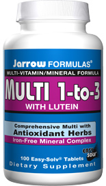 Jarrow Formulas comprehensive Iron Free Multi-Vitamin and Mineral formula complete with antioxidant herbs including Lutein..