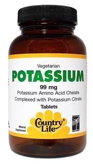 Vegetarian/Kosher Potassium is necessary for fluid balance and is an essential mineral which helps neutralize many functions throughout the body. Muscle or leg cramps may be a sign of low potassium, calcium or magnesium..