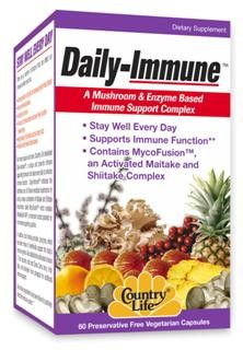Daily-Immune™, a unique and powerful immune supporting formula to be taken every day to enhance immune function. Daily-Immune™ embraces the traditional use of of medicinal mushrooms by using a unique combination of Maitake and Shiitake mushrooms called MycoFusion™ which contains MaitakeGold 404®, a mushroom root extract that has been patented for its immune supporting qualities.