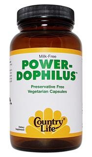 hese special probiotic bacterial strains are resistant to digestive enzymes. The four bacterial strains found in Power-Dophilus' have been selected to provide organisms capable of flourishing in all sections of the small and large intestines and are sturdy enough to compete successfully with harmful microorganisms. In a vegetarian capsule..