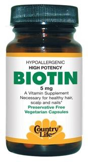 A Vitamin Supplement Necessary for Healthy Hair, Scalp and Nails. A 'yeast free' high potency biotin in a vegetarian capsule. Vegetarian/Kosher Formula..
