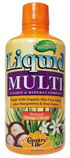 Food Based Liquid Multi is a unique combination of vitamins and minerals plus Organic Aloe Vera Juice, Mangosteen and Noni juices..