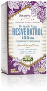ReserveAge Organics combines organic French red-wine grapes direct from French vineyards and wild crafted natural Polygonum cuspidatum root extract into a potent and powerful rejuvenating blend. In this pure, ultra beneficial form, Trans-Resveratrol has been proven in studies to activate the SIRT1 longevity gene and enhance cellular productivity..