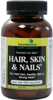 Hair, Skin & Nails for Men is based on the same #1-selling, nutrient-intense formula as the women's formula with the added benefit of 25 mg of zinc per daily dose. Futurebiotics has formulated a full spectrum of herbs, vitamin and minerals to support hair growth and healthy skin and nails..