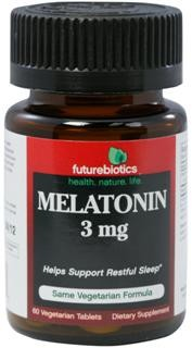 Melatonin is a natural secretion of the pineal gland and is produced by the body to help support and regulate sleep. Futurebiotics provides 3 mg of Melatonin per tablet to help support restful sleep.*  Normally, the body increases melatonin levels when it is dark to help facilitate healthy sleep patterns and reduces Melatonin levels in the daylight..