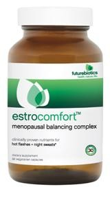 EstroComfort™ is an all-natural phytoestrogen supplement fortified with L-Theanine designed to offer a nutritional alternative and help reduce menopausal symptoms, including hot flashes and night sweats..
