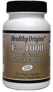 Healthy Origins Natural Vitamin E with 100% Natural Mixed Tocopherols is a major antioxidant that supports cardiovascular health..