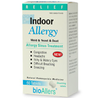 BioAllers' Indoor Allergy quick dissolving homeopathic tablets for fast temporary relief of indoor allergies..