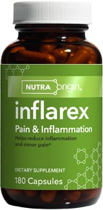 Inflarex | Pain & Inflammation by NutraOrigin features ingredients that naturally block excess inflammatory metabolites, helping diminish occasional pain and inflammation from sports injuries, surgical trauma, bruising, menstrual cramps, joint discomfort, and muscle stiffness..