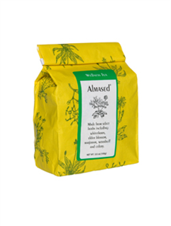 Almased Wellness Tea is a thoughtfully selected blend of healing herbs, including whitethorn, elder blossom, marjoram, woodruff and celery.
