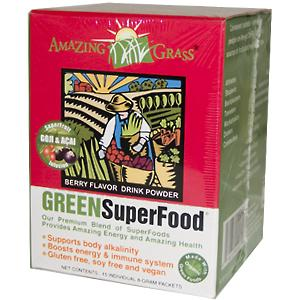 Amazing Grass Green SuperFood is a perfect blend of alkalizing greens, antioxidant rich whole food fruits and vegetables, immune boosting support herbs, friendly pre & probiotics all infused with acai and goji..
