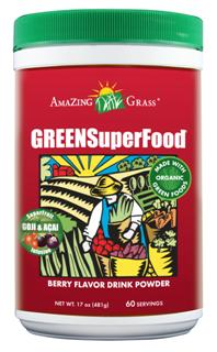 Amazing Grass Berry Green SuperFood is a perfect blend of alkalizing greens, antioxidant rich whole food fruits and vegetables, immune boosting support herbs, friendly pre & probiotics all infused with acai and goji beries..