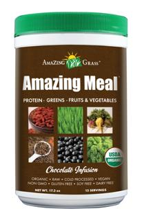 Amazing Meal is a powerful source of Green SuperFoods: wheat grass, barley grass, alfalfa & kale. Amazing Meal is rich in antioxidants and essential fatty acids, hemp protein, flaxseed.