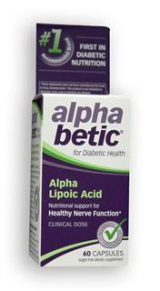 alpha betic Alpha Lipoic Acid 600mg is specially formulated diabetic nutritional support for healthy nerve function. .