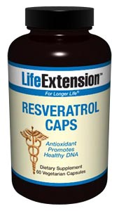 LifeExtension- Resveratrol Caps may be the most effective plant extract for maintaining optimal health and promoting longevity..