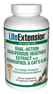 LifeExtension- Dual-Action Cruciferous Vegetable Extract With Resveratrol & Cats Claw - Cruciferous vegetables (broccoli, cauliflower, brussels sprouts) are a rich source of glucosinolates and their hydrolysis products, including indolesand isothiocyanates..