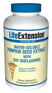The pumpkin seed has a long history of use in helping to maintain healthy bladder function. Japanese scientists have patented a method to obtain the water-soluble constituents of the pumpkin seed, which are absorbed far more efficiently into the bloodstream. These water-soluble pumpkin seed extracts appear to be the active constituents to help with the urinary discomforts endured by so many maturing women and men..
