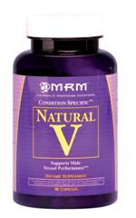 Natural V by MRM is an herbal blend of Tribulus terrestris (70% steroidal saponins), diosgenin and Avena sativa to support sexual function in men. Includes Horny Goat Weed and Tongat Ali to further enhance virility..