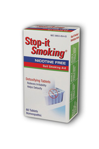 Stop-It Smoking helps you gather the strength and support you'll need to quit smoking without the nicotine. Stop-It Smoking is a two-part smoking cessation program with powerful ingredients that address craving reduction and body detoxification. A true smokers remedy that effectively lifts you away from the cravings and toxins that have built up from tobacco use and addiction.  Homeopathic Quit Smoking Aid Relieves Irritability.