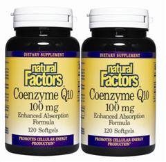 Special Offer- 2 pack 120+120 softgels. Coenzyme Co Q10 100mg from Natural Factors promotes cellular balance and energy, and greatly benefits the heart, liver, and kidneys..