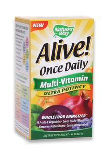 NEW Alive! Once Daily Multivitamin has a higher potency of vitamins/minerals, extra B-vitamins for energy; plus 1,000 IU of Vitamin D. It is the only 'once daily' with 26 fruits and veggies plus 14 green foods, 12 organic mushrooms, 12 digestive enzymes, resveratrol, CoQ10 and lutein..