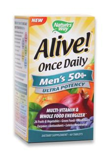 NEW! Once Daily Multivitamin for Men 50+ Ultra Potency. Multivitamin and Whole Food Energizer. 26 Fruits & Veggies. Green Foods. Mushrooms. Enzymes. Antioxidants. Lutein. Resveratrol..